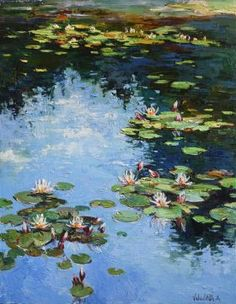 This is an original oil painting with beautiful water lilies in pond. It was made with brushes and palette knife. This work is unique, this is not print and not copy. Canvas will be send on a . Water Lilies Painting, Monet Water Lilies, Lily Painting, Plant Painting, Monet Paintings, Nature Paintings, Les Nénuphars Monet, Watercolor Landscape, Landscape Art