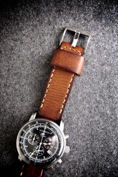 """Medici"" Saddle Tan Handmade Leather Watch Strap"