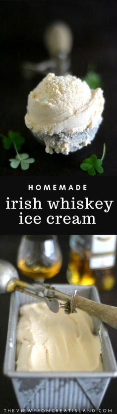 There's nothing better than homemade ice cream, unless it's Irish Whiskey Ice Cream ~ this is the ultimate frozen treat! Just imagine a scoop of this on your holiday pumpkin or pecan pie! #homemadeicecream #irishwhiskeyicecream #whiskeyicecream #whiskey #irishwhiskey #icecream #dessert #whiskeyrecipe
