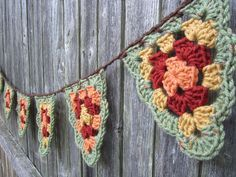 Fall Banner Crochet Fall Bunting Crochet Banner by CROriginals Beau Crochet, Crochet Birds, Crochet Fall, Crochet Motifs, Crochet Home, Love Crochet, Crochet Granny, Beautiful Crochet, Crochet Crafts