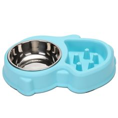 Slow Feeder Cat Bowl and Stainless Steel Dog Bowl for Feeding and Watering Interactive Bloat Stop Pet Bowl (Blue) *** Check out this great article. #CatFeedingandWateringSupplies