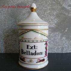 ☞ MD ☆☆☆ Ancien pot à pharmacie Métadier porcelaine de Limoges Ext : Belladon.