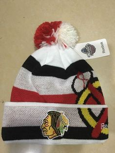 Men s   Women s Chicago Blackhawks Reebok 2017 NHL Winter Classic Goalie Pom  Pom Knit Beanie Hat - White   Red   Black eb80f60d87a