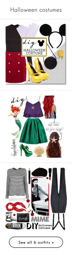 """""""Halloween costumes"""" by millerkate ❤ liked on Polyvore featuring AX Paris, White + Warren, Disney, Paco Rabanne, disney, DIYHalloween, diyhalloweencostume, diycostume, disneycharactercostume and River Island"""