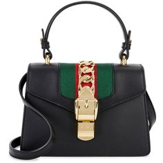 GUCCI Sylvie Mini Black Leather Tote (8,070 MYR) ❤ liked on Polyvore featuring bags, handbags, tote bags, leather tote bags, genuine leather tote, gucci handbags, mini tote bags and leather handbags