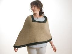Knitted wool beige cape by salcie on Etsy