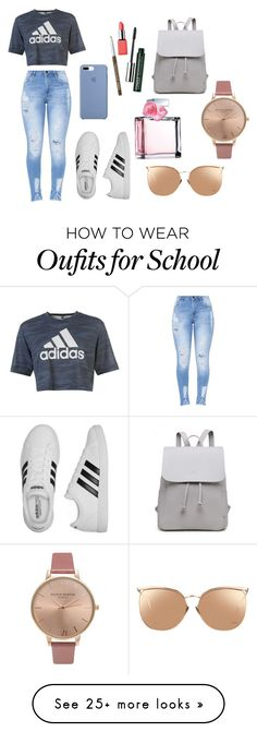 """#1 School"" by annefloortje on Polyvore featuring adidas, Clinique, Ralph Lauren, Linda Farrow, Olivia Burton, school, polyvorefashion, rosegal and summer2017"