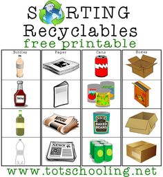 Free Earth Day Pack for Toddlers & PreK Totschooling - Toddler and Preschool Educational Printable Activities Recycling Games, Recycling Activities For Kids, Diy Recycling, Reuse Recycle, Sorting Games, Sorting Activities, Toddler Activities, Autism Activities, Toddler Learning