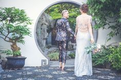 Lesbian Wedding, Lesbian Love, Happy Women, Happy Girls, Two Brides, Chinese Garden, Warm Colors, Beautiful Bride, Real Weddings