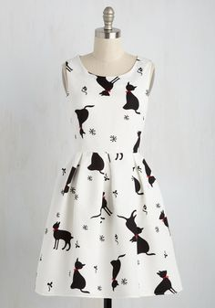 Good Mews Travels Fast Dress. Whats black and white and rad all over? #white #modcloth