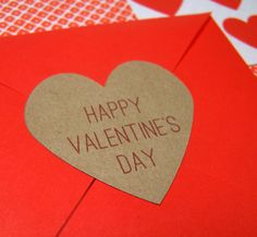 """Heart Shaped Happy Valentines Day Sticker - 24 1.5"""" Heart - Kraft Brown Stickers / Labels - for Cards, Gifts. $10.00, via Etsy."""