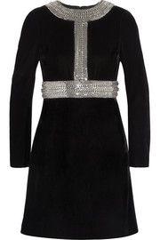 Saint LaurentChain-embellished velvet mini dress