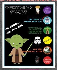 Star Wars Behavior Chart - YODA Best, Dark Side, Rule the Galaxy, Be good...yes you are, the force is strong with you, Death Star, R2D2 by KCKCreativeMarket on Etsy