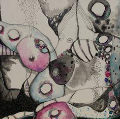 Nouvelle collection Zen Abstract 12 x 12 bercé bord par JodiOhl