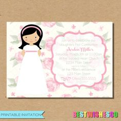 Printable Invitation First Communion Invitation Printable Invite Girl Communion…