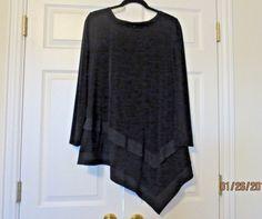 CHICO'S Women's Black Asymmetrical Tunic Top Sz 2 12/14 L Large Long Sleeve #Chicos #TravelCareerOffice