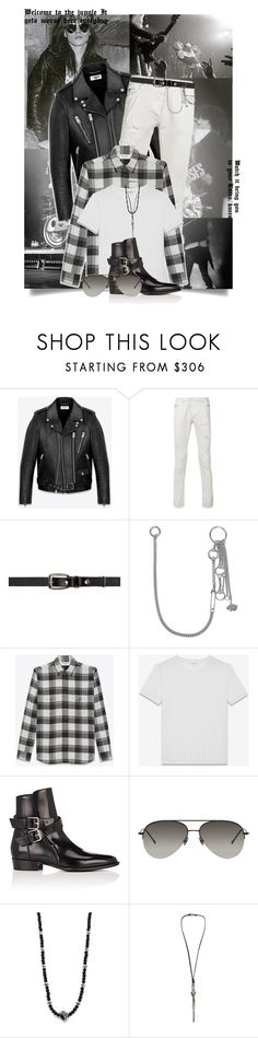 """""""You're In The Jungle Baby"""" by tina-abbara ❤ liked on Polyvore featuring Decades, Yves Saint Laurent, Balmain, Valentino, AMIRI, Belstaff, King Baby Studio, Emanuele Bicocchi, men's fashion and menswear"""