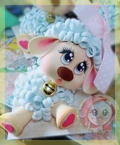 Oveja Foam Crafts, Diy And Crafts, Crafts For Kids, Arts And Crafts, Sheep Cake, Sheep Crafts, Clay Figures, Rose Art, Diy Clay
