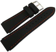 18mm-Hadley-Roma-MS3345-Black-Silicone-Rubber-Orange-Stitch-Watch-Band-Strap