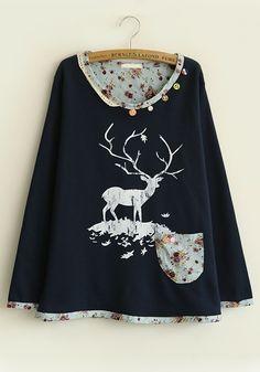 Navy Blue Patchwork Buttons Round Neck Cotton Sweatershirt
