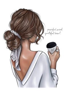 Blonde Hair Girl, Brunette Girl, Girly Drawings, Coffee Girl, Fashion Prints, Art Girl, Girl Hairstyles, Hair Styles, Photos