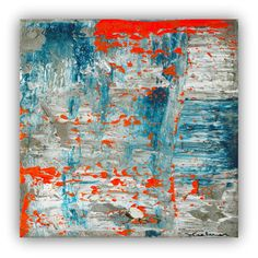 Large abstract painting orange teal lue by studioARTificial