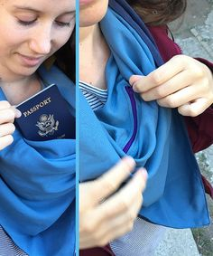 Scarf with Secret Pocket Sewing Clothes, Diy Clothes, Sewing Hacks, Sewing Projects, Secret Storage, Diy Scarf, Poncho, Fabric Bags, Creative Crafts