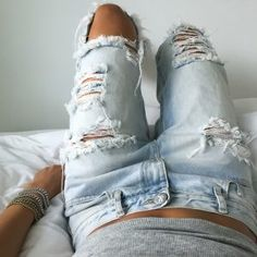 afbbb4d9df0c 200+ Cute Ripped Jeans Outfits For Winter 2017 - My Cute Outfits Ripped  Denim Jeans