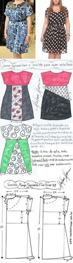 DIY – molde, corte e costura – Marlene Mukai. Vestido manga japonesa plus size. Um vestido fácil de fazer e que veste bem com modelagem do 46 ao 62. Coloquei também opções de recortes para aproveitar tecidos e combinar estampas. Está no primeiro desenho abaixo. Um vestido fácil de fazer e que veste bem com modelagem do