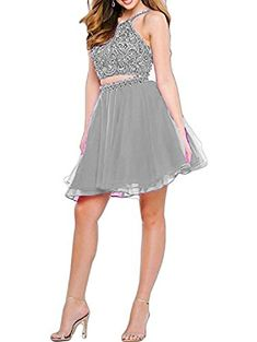 708e9d34ee0 LovingDress Two Pieces Homecoming Dresses 2017 with Beaded Strapless Prom  Dresses Short at Amazon Women s Clothing store