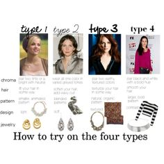 """""""How to try on the four types"""" by expressingyourtruth on Polyvore"""