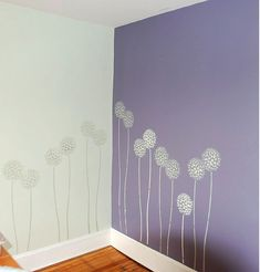 Continued stencil on two different colored walls…I like it!