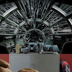 Star Wars Wall Art, Star Wars Bedroom, Star Wars Tattoo, Star Wars Kids, Star Wars Wallpaper, Millennium Falcon, Black Walls, Wall Murals, Stars