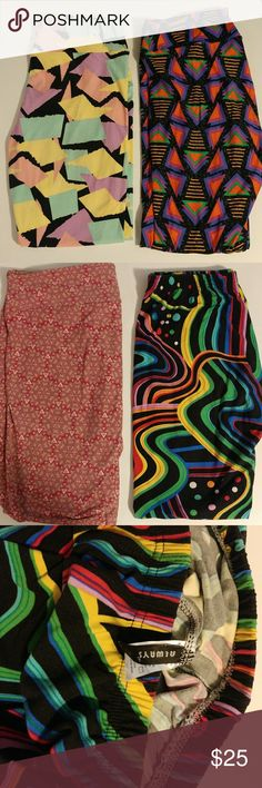 4 Pairs of Leggings for the price of 1!!! Super fun patterns! 80s 90s style geometric designs. All are LuLaRoe TC leggings except for the last pair that looks like a rainbow lava lamp (see pic of tag.) That pair is an off brand, however, it's the same type of buttery soft fabric. All leggings are in excellent condition with no pilling. This price is for all 4. They come as a set. LuLaRoe Pants Leggings