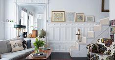 Scandinavian interior design detail stairs to bedroom mezanine in livingroom