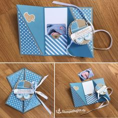 Angekommen im Stempelhafen - Best Ideas Mini Album Scrapbook, Baby Scrapbook, Fancy Fold Cards, Folded Cards, Infinity Card, Karten Diy, Pop Up Cards, Card Tutorials, Paper Cards