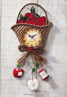 Country Apple Basket Kitchen Wall Clock