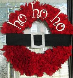 Santa wreath holiday-ideas I woudl take off ho ho ho and add merry Christmas Noel Christmas, All Things Christmas, Winter Christmas, Christmas Wreaths, Christmas Decorations, Black Christmas, Outdoor Christmas, Christmas Reef, Christmas Ribbon