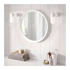 IKEA - LANGESUND, Mirror, blue, , Safety film  reduces damage if glass is broken.Suitable for use in most rooms, and tested and approved for bathroom use.