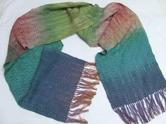 Hand dyed hand woven cotton scarf lace scarf holiday gifts hand painted fabric hand weaving womens scarves blue green cotton scarf by HandweavingbyMima on Etsy