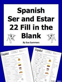 Spanish verb ser worksheet conjugation translation no prep to be
