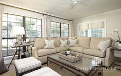 (Fort Worth Family Room After) Like roman shades over french doors and curtains with the windows.