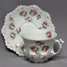 Antique ALTROHLAU AUSTRIAN DEMITASSE TEA CUP SAUCER Hutschenreuther Roses 1800's