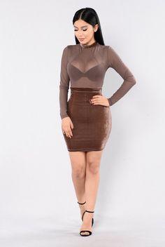 Velvet Love Dress - Pastel Brown