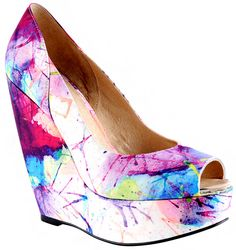 color-splashed 4-inch wedge heels  So cute! and making me 6'? Well.. thats just a bonus!