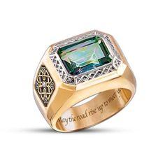 Diamond And Mystic Topaz Mens Ring: Pride Of Ireland