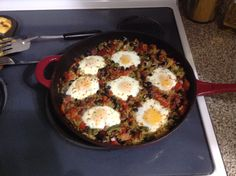 Yummy dinner I made chorizo rice and beans with eggs