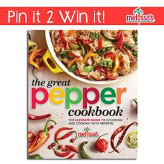 April 2014 Pin-It to Win-it Giveaway:  The Great Pepper Cookbook                                       Designed in an easy-to-follow format with 150 delicious everyday recipes that celebrate the unique range of flavors peppers offer.                                       The Great Pepper cookbook acts as a primer of all varieties of peppers, both fresh and dried, and includes images of all varieties, seasonality and a scoville chart heat rating.     http://www.melissas.com/Articles.asp?ID=3103