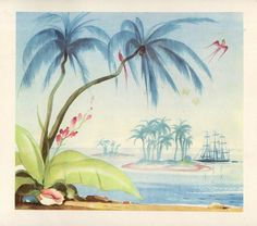 A cluster of tropical paradises Mercier, Tiki Room, Illustrations, Tropical Paradise, Palm Trees, Les Oeuvres, Watercolor, Ideas, Painting