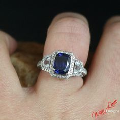 Blue & White Sapphire 3ct 9x7 Diamond Engagement by WanLoveDesigns